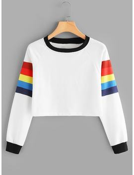 Contrast Trim Color Block Sweatshirt by Sheinside