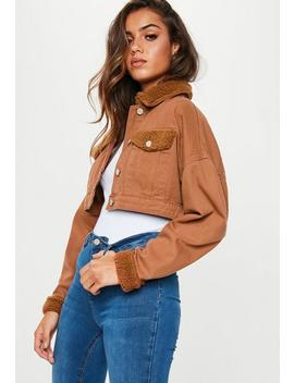 Tan Cropped Borg Mix Denim Jacket by Missguided