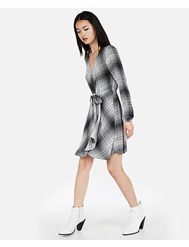 Plaid Knotted Faux Wrap Dress by Express