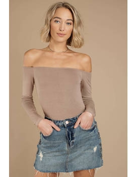 Cosette Taupe Off Shoulder Bodysuit by Tobi