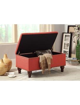 Clay Alder Home Alderson Red Linen Nailhead Trim Storage Bench by Clay Alder Home