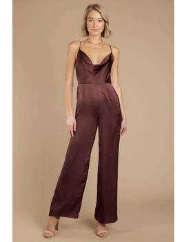 Fall Back Wine Satin Jumpsuit by Tobi