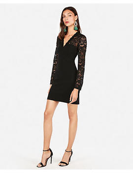 Lace Yoke Sheath Dress by Express
