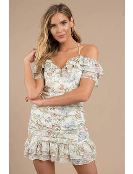 Rowena Ivory Multi Off Shoulder Ruffle Dress by Tobi