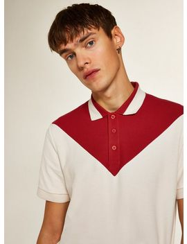 Red And Ecru Chevron Panel Polo by Topman