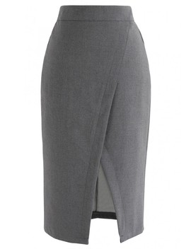 One And Only Pencil Skirt In Grey by Chicwish