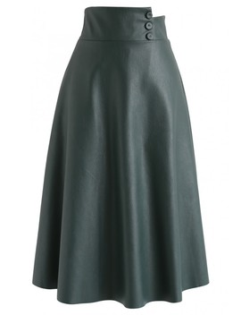 Highlight Button Faux Leather Midi Skirt In Dark Green by Chicwish