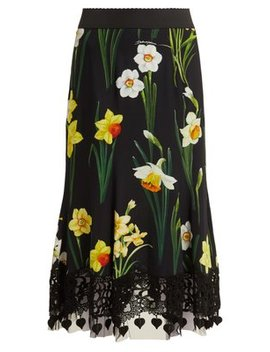 Daffodil Print Cady Midi Skirt by Dolce & Gabbana