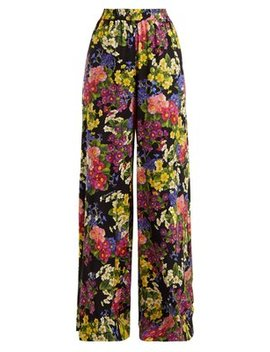 Floral Print Silk Blend Charmeuse Trousers by Dolce & Gabbana