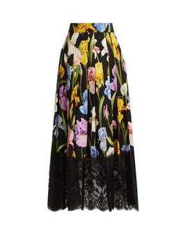 Iris Print Silk Blend Charmeuse Skirt by Dolce & Gabbana