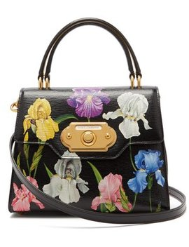 Welcome Medium Iris Print Leather Bag by Dolce & Gabbana