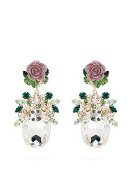 Crystal Embellished Floral Drop Earrings by Dolce & Gabbana