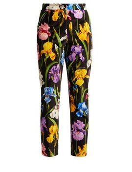Iris Print Stretch Cotton Velvet Trousers by Dolce & Gabbana