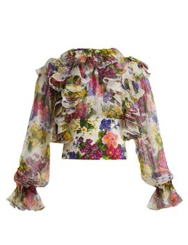 Peony And Rose Print Silk Chiffon Blouse by Dolce & Gabbana