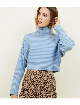 Pale Blue Ribbed Roll Neck Cropped Batwing Jumper by New Look
