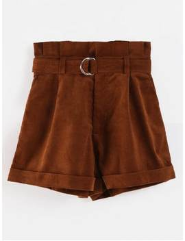 Belted High Waisted Paperbag Shorts   Coffee L by Zaful