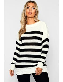 Plus Stripe Knitted Jumper by Boohoo