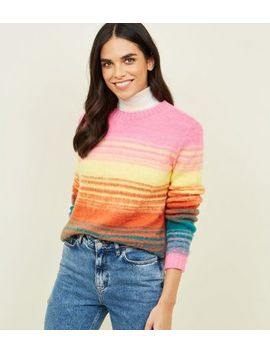 Pink Space Dye Brushed Jumper by New Look