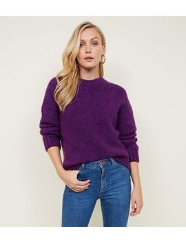 Purple Fluffy Crew Neck Jumper by New Look