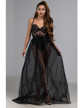 Do You Love Me Sheer Tulle Maxi Skirt by Akira