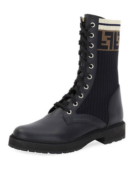 Leather Combat Boot With Ff Cuff by Fendi