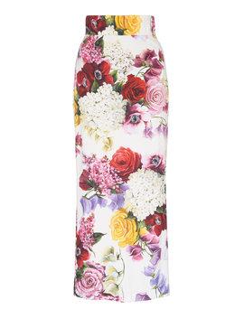 Floral Print Cady Midi Skirt by Dolce & Gabbana