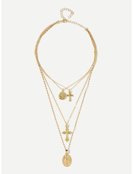 Cross Design Layered Pendant Necklace by Sheinside