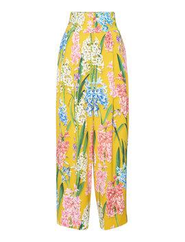 Floral Print Poplin Wide Leg Pants by Dolce & Gabbana
