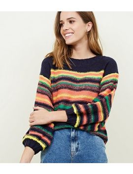 Qed Multicoloured Glitter Stripe Jumper by New Look