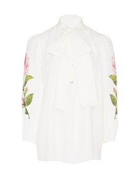 Pussy Bow Printed Silk Crepe De Chine Blouse by Dolce & Gabbana