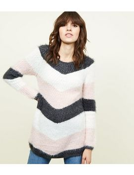 Grey Chevron Stripe Fluffy Jumper by New Look