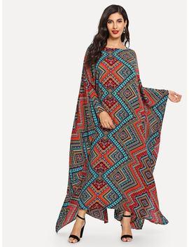 Geometrical Pattern Longline Dress by Shein
