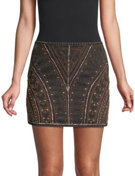Embellished Denim Mini Skirt by The Kooples