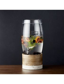 Oregon Glass Drink Dispenser With Wood And Marble Stand by Crate&Barrel