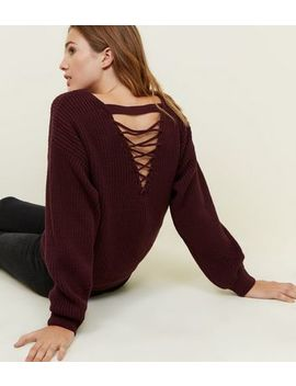 Burgundy Ribbed Lattice Back Jumper by New Look