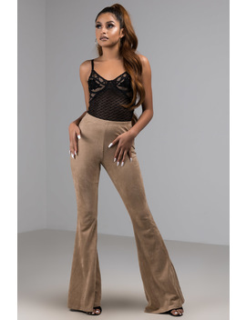 Too Late To Say Sorry Faux Suede Wide Leg Pant by Akira