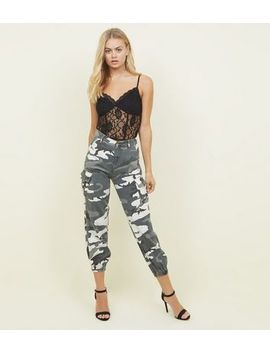 Light Grey Camo Print Cuffed Cargo Trousers by New Look