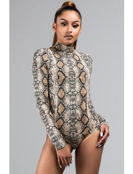 It's A Wild World High Neck Snakeskin Bodysuit by Akira