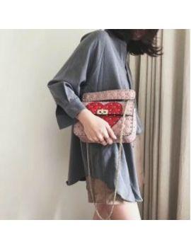 Sheepskin Diamond Handbag Heart Purse Messenger Bag by I Offer