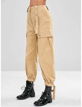 High Waisted Cargo Pants   Light Khaki L by Zaful