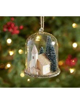 Lit House Cloche Ornament by Pottery Barn