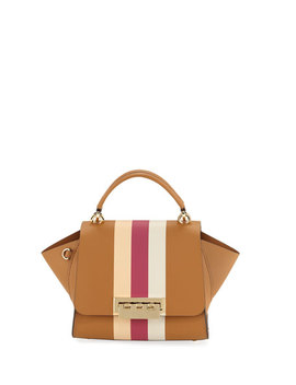 Eartha Iconic Racing Stripes Leather Crossbody Bag, Camel by Zac Zac Posen
