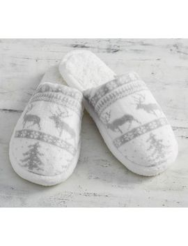 Fair Isle Plush Slippers by Pottery Barn