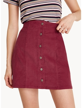 Mini Corduroy Button Down Skirt by Pomelo