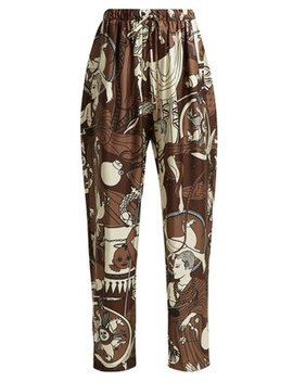 Printed Silk Wide Leg Trousers by Edward Crutchley