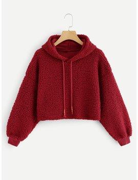 Solid Drawstring Hoodie Sweatshirt by Romwe