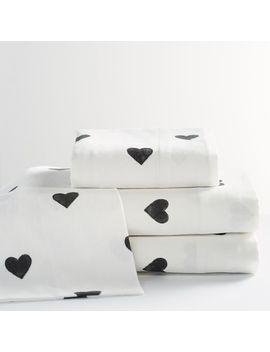 The Emily & Meritt Organic Heart Flannel Sheet Set by P Bteen