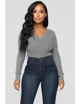 Ashley V Neck Top   Medium Heather Grey by Fashion Nova