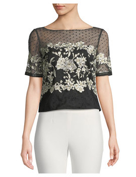 Tulle Top W/ Floral Embroidery by Marchesa Notte