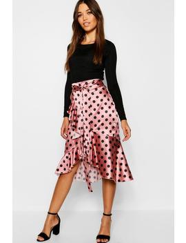 Satin Wrap Polka Dot Midi Skirt by Boohoo